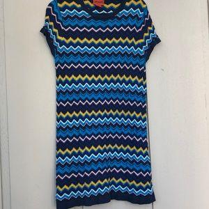 Missoni Knit Zig Zag Pattern Mod  Mini Dress
